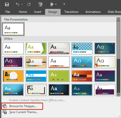 Applying Themes in Word, Excel, and PowerPoint