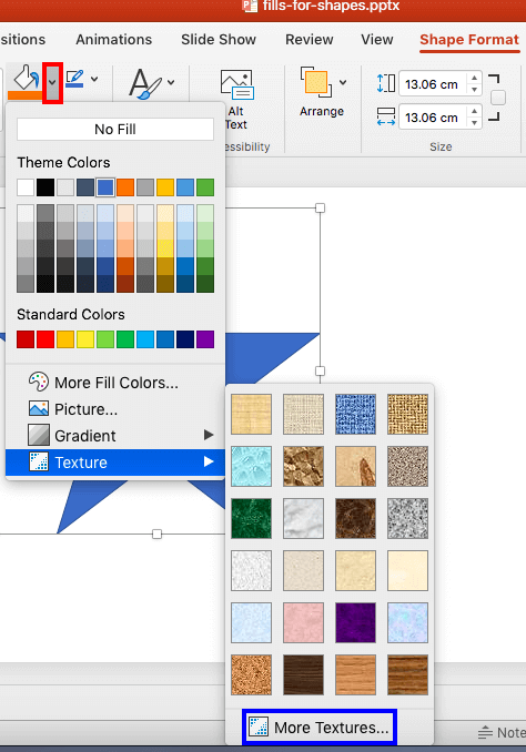 Texture Fills to Shapes in PowerPoint