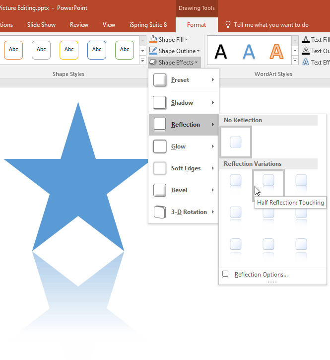 Apply Reflection Effects to Shapes in PowerPoint