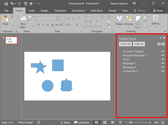 Select, Deselect, View, and Hide Shapes Using the Selection Pane in PowerPoint