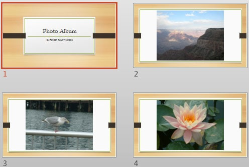 Apply Themes to Photo Album Presentations in PowerPoint