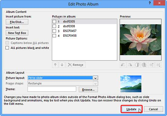 Editing Your Photo Album in PowerPoint