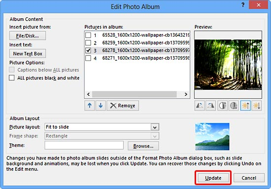 Reorder, Remove, and Edit Photos within Photo Album in PowerPoint