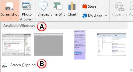 Inserting Screenshots in PowerPoint