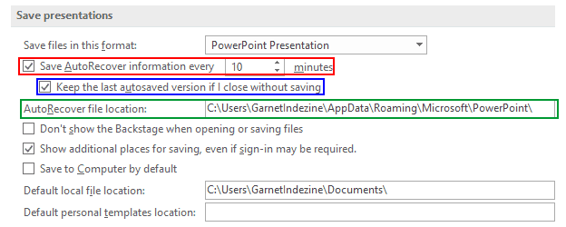 AutoRecover and AutoSave Options in PowerPoint