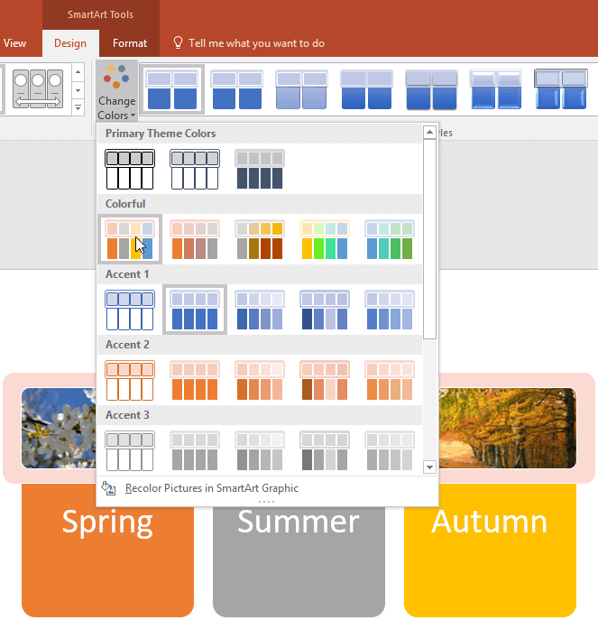 Change Colors for a SmartArt Graphic in PowerPoint
