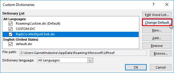 Set Default Custom Dictionary in PowerPoint