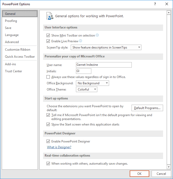 Options to change PowerPoint settings