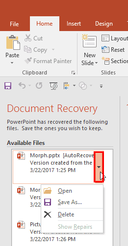 Recovering Unsaved Presentations in PowerPoint