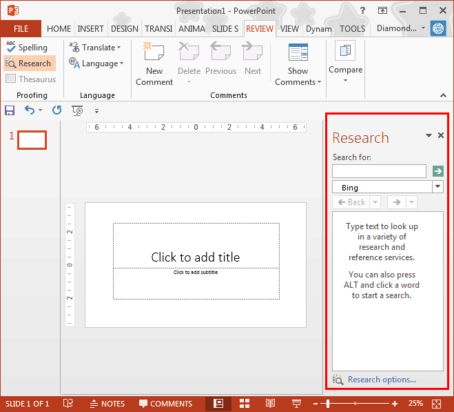 Research Tools in PowerPoint