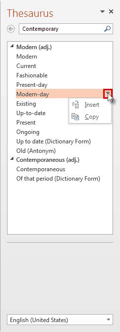 Thesaurus in PowerPoint