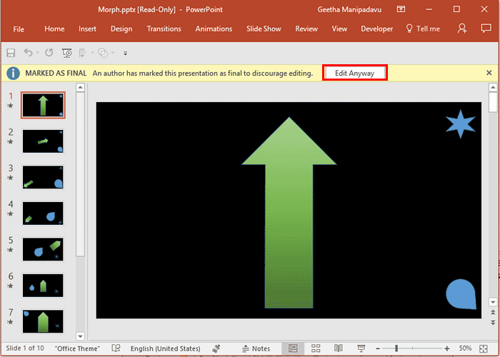 Remove Mark as Final in PowerPoint