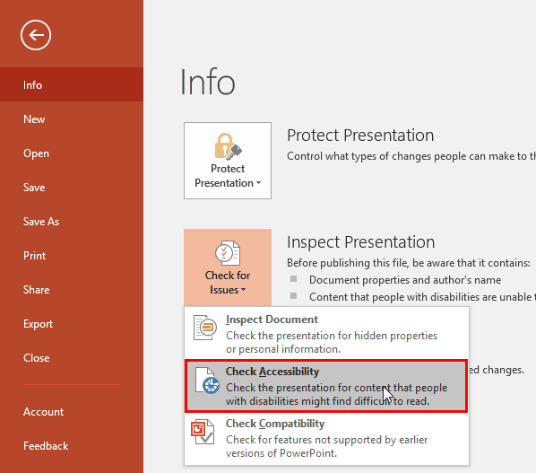 Check Accessibility in PowerPoint