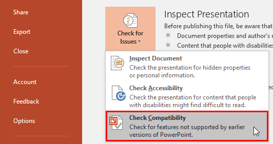 Check Compatibility in PowerPoint