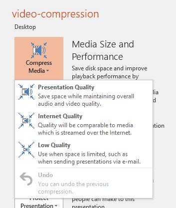 Video Compression Options in PowerPoint