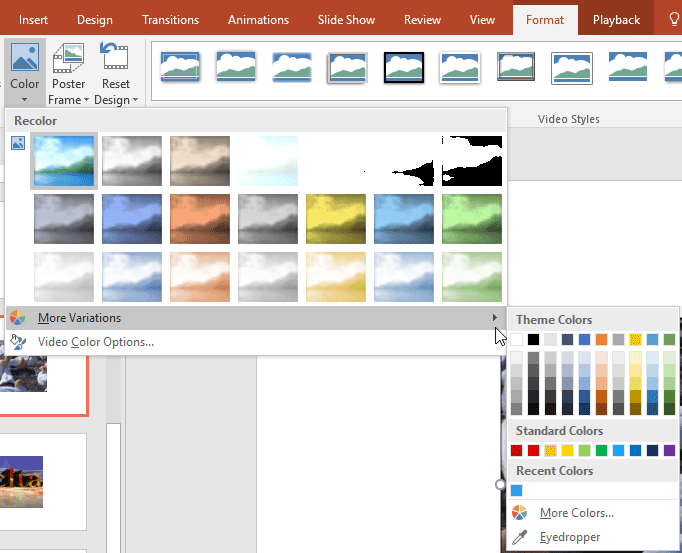 Recolor Video in PowerPoint