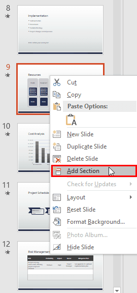 PowerPoint Add Sections