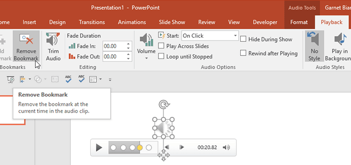 PowerPoint Remove Sound Bookmark