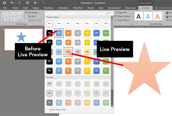 Live Preview in PowerPoint
