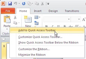 Quick Access Toolbar in PowerPoint