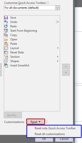 Reset, Export, and Import QAT Customizations in PowerPoint