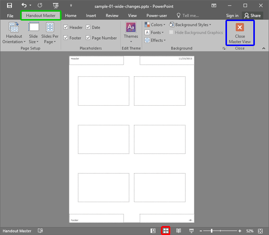 Handout Master View in PowerPoint