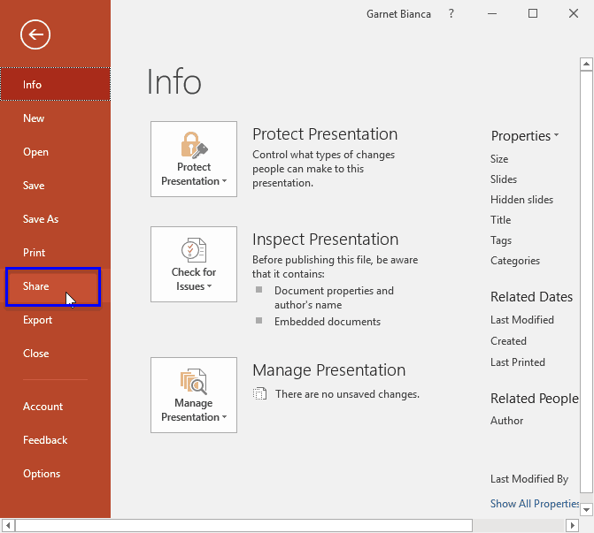 Share Tab in Backstage View in PowerPoint