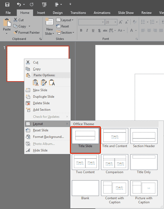 Change Slide Layout in PowerPoint