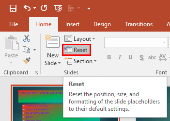Reset Slides in PowerPoint