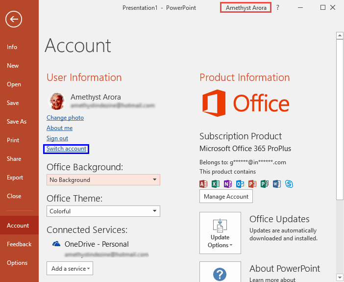 Sign Out and Switch Accounts in PowerPoint