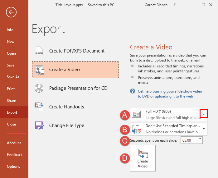 Export a Presentation to a Video Clip in PowerPoint