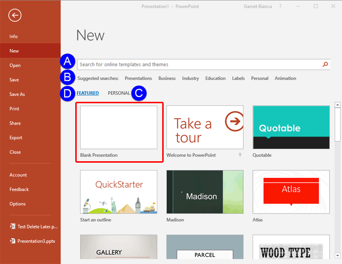 New Tab Options of Backstage View in PowerPoint