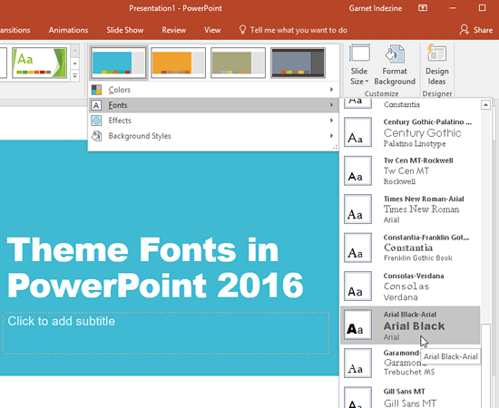 Theme Fonts in PowerPoint