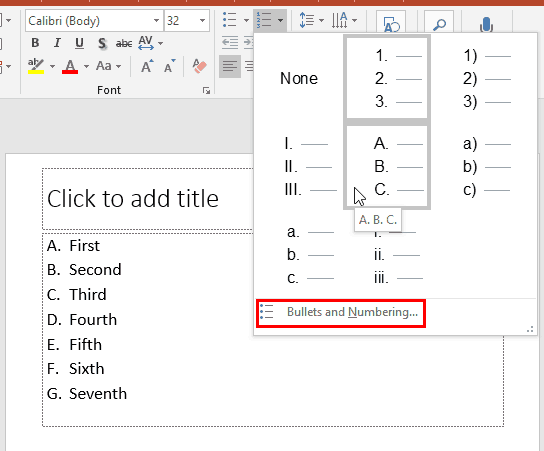 Change the Numbered List Style in PowerPoint