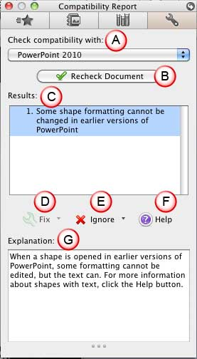 Toolbox - Compatibility Report Tab in PowerPoint