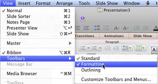 Formatting Toolbar in PowerPoint