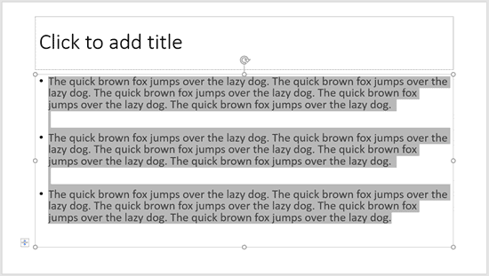 Selecting Text in PowerPoint