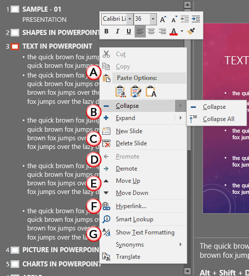 Outline Pane Options in PowerPoint