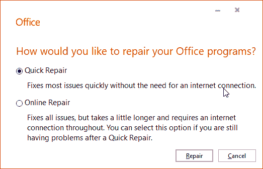 Repair Office and PowerPoint