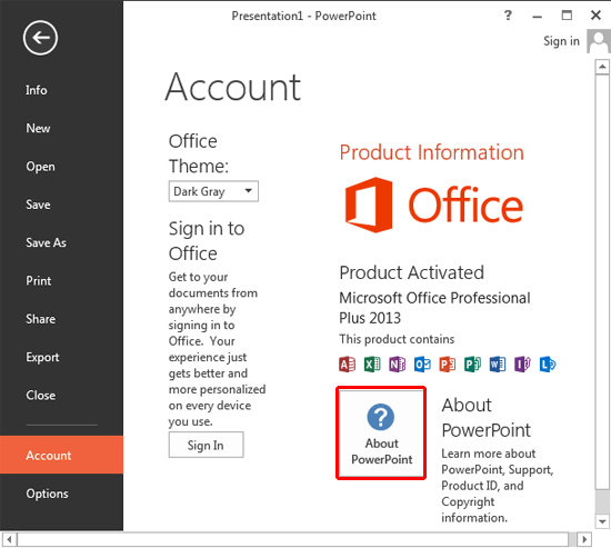 Determine if SP1 is Installed within PowerPoint