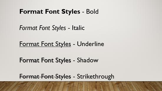 Format Font Attributes (Styles) in PowerPoint 2016 for Windows