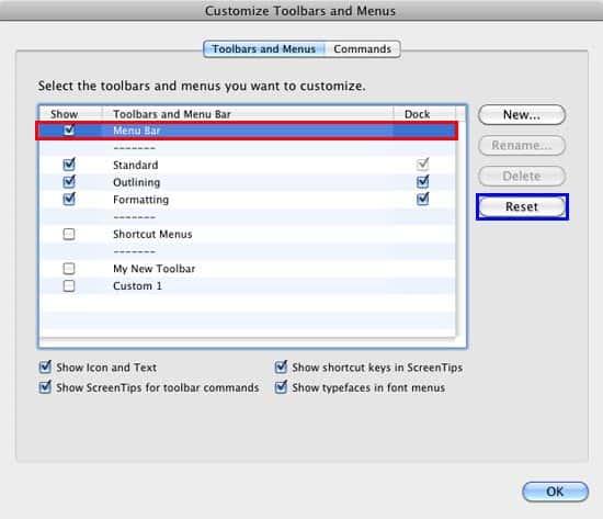 Reset Toolbars and Menus in PowerPoint