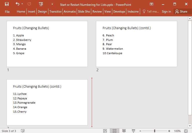 Start or Restart Numbering for Lists in PowerPoint
