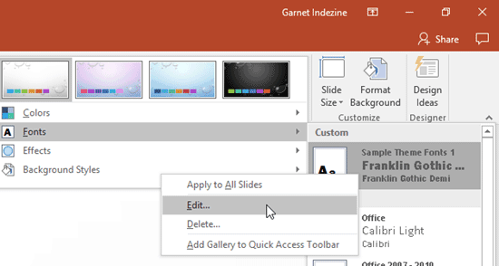 Edit Theme Fonts Set in PowerPoint