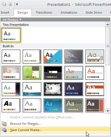 Saving Themes in Word, Excel, and PowerPoint