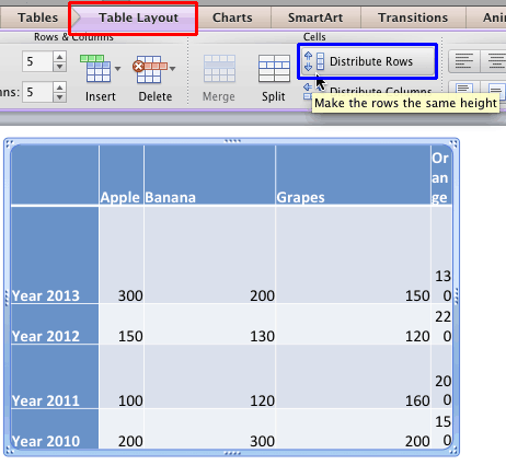 Distribute Table Rows and Columns in PowerPoint