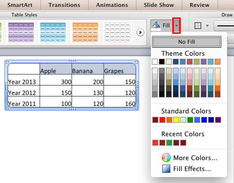 Fills and Effects for Tables