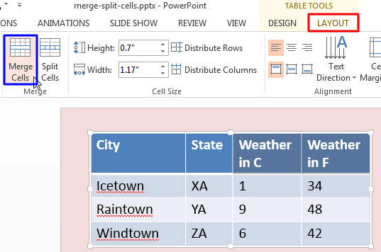 Merge and Split Table Cells in PowerPoint