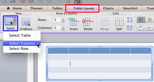 Select Table Cells, Rows, and Columns in PowerPoint