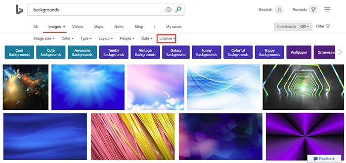 Bing Images Search by License